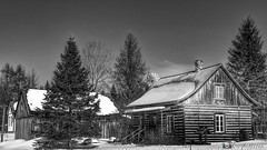 180228-34 La cabane en bois (clamato39) Tags: noiretblanc blackandwhite bw monochrome maison old oldhouse sky ciel hiver winter snow neige beauce provincedequébec québec canada