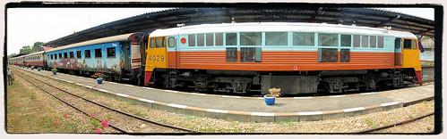 The train from Bangkok, arrives at Kanchanaburi railway station in 2015, Thailand.