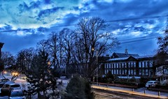 Beast from the East 2!!! ☃☃☃ (LeanneHall3 :-)) Tags: lighttrails street beastfromtheeast snow snowscene night nightshot nightphotography streetlamps houses buildings landscape canon 1300d trees branches sky clouds talkativeclouds blue yellow lights cars