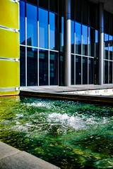 Bubbles in The City (FrankieJoseph) Tags: city seattle fountain bubbles urban street lights green water fuji xt2 architecture