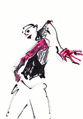 Loca [20180221] (rodneyvdb) Tags: art contemporary dance drawing expression expressionism fashion femme illustration ink modern model pose red vogue woman