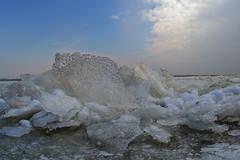 Winter in Holland! (nsiepelbakker) Tags: winter cold ice sulpture omdem1markii samyang75 clouds sky ijsselmeer