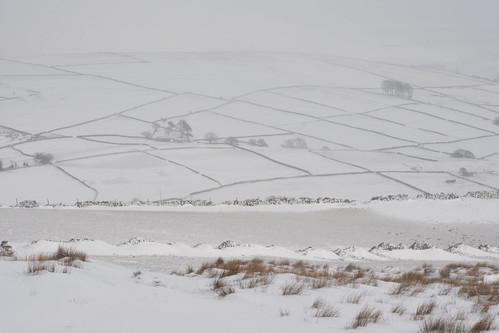 Storm Emma, Little Hayfield, Peak District National Park, Derbyshire, England.