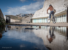 Undercliff Reflections 10/52 2018 (amipal) Tags: bicycle brighton clouds england englishchannel gb greatbritain reflections saltdean sea sussex uk undercliff unitedkingdom water photo52 photoaweek