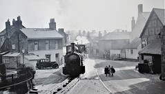 Welshpool, Wales. (ManOfYorkshire) Tags: welshpool wales welsh uk gb welshppolllanfair light narrowgauge railway train steam loco locomotive engine town centre track street 1950s