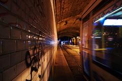 Proche (Atreides59) Tags: rhone rhône lyon nuit night people urban urbain street tramway tunnel lumière light taf graff graffiti jaune yellow bleu blue lights lumières lumieres lumiere pentax k30 k 30 pentaxart atreides atreides59 cedriclafrance