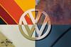 Four Corner Emblem (Eric Arnold Photography) Tags: vw volkswagen logo emblem bus kombi van transporter colors quad corner corners patina blue rainbow retro