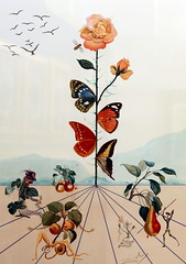 IMG_9798 Salvador Dali 1939-1989  Butterfly Rose. Papillon Rose.  (Series Flora Dalinae) 1983 Prague.  Galerie d'Art. Art Gallery. (jean louis mazieres) Tags: peintres peintures painting musée museum museo prague tchéquie czechrepublic salvadordali