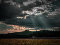 Broody Sky (nerd.bird) Tags: barrowhill gloucestershire field grass sky clouds sun rays broody drama landscape hill trees sunset
