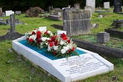 Fresh flowers on the Larkin family grave (IanAWood) Tags: bringoutyourdead citiesofthedead graveyards harrowwealdcemetery headstonehunting lbofharrow londoncemeteries londondead nikkorafs58mmf14g nikondf stanmore uxbridgeroad walkingwithmynikon