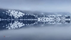 foggy mirror (cherryspicks (off)) Tags: landscape fog mist mirror mountain mountainside snow winter lake water reflection