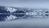 foggy mirror (cherryspicks (off)) Tags: landscape fog mist mirror mountain mountainside snow winter lake water reflection