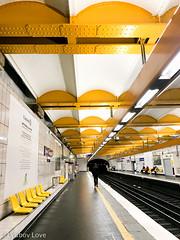 Metro in Paris (Lyubov Love) Tags: metro paris parisian travel transport transportation train yellow design layout tunnel bright color colour colors colours colourful colorful creative traveling france