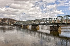 The Dividing Line (brev99) Tags: d610 tamron28300xrdiif newhope newjersey ononesoftware on1photoraw2018 landscape delawareriver pennsylvania lambertville reflections colorefex cloudy clouds bridge