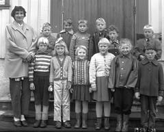 Class Photo (theirhistory) Tags: children boys kids school class form girls teacher jumper trousers shoes wellies rubberboots coat