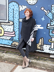 Hanneke, Amsterdam 2018: Graffiti girl (mdiepraam) Tags: hanneke amsterdam 2018 ndsm portrait pretty attractive beautiful elegant classy gorgeous dutch redhead woman lady naturalglamour curls leather boots scarf mature milf smile graffiti