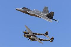 F-22 & P-38 (Trent Bell) Tags: lancaster foxairfield airport losangelescounty airshow 2018 california aircraft military f22 raptor p38 p38lightning 23skidoo heritageflight