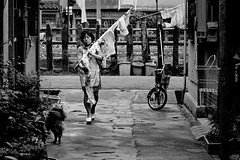 Street 645 (soyokazeojisan) Tags: japan osaka bw city street road people dog bicycle rain olympus m1 50mmf18 trix film woman memories 昭和