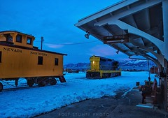 Blue hour (rolfstumpf) Tags: usa nevada ely eastely depot station yard nevadanorthern snow bluehour emd sd9 caboose railway railroad winter night dusk olympus