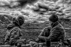 Iceland Republic - Resting and taking in the view of the Mountains and Sky (Onasill ~ Bill Badzo) Tags: mountains view vista iceland republic trekking monochrome black white bw negro dramatic landmannalaugar route trail hiking snow mountain nature sky clouds onasill landmark historic hdr landscape july reykjavík ultramannalaugar outdoor mono people climbing slope canon s95 raw camp site blackandwhite