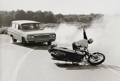 Spill, 1978 (clarkfred33) Tags: motorcycle danger crash country curve yamaha stationwagon 1964chevrolet adventure yamaha650 action countryroad vintage vintagephoto blackandwhite 1978 motorcyclecrash creative