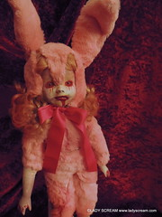 PINK BUNNY (10) (Shelley Mostowfi, Lady Scream) Tags: horror horrorart macabre ooak dolls porcelaindolls dollrepaints bunny bunnys bunnydoll rabbitdoll zombiebunny zombie zombiedoll runrabbitrun alternativeeaster easterbunny dollart blood gore regan exorcist possessed demon levitation paranormal zombies brains dead undead horrordolls scalped flesh rotting haunted haunting