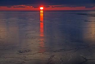 Sunrise over the ocean ice