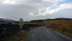 Road to Tomchrasky, Highlands of Scotland, Feb 2018 (allanmaciver) Tags: tomchrasky road single track route passing place bleak grey damp clouds blue sky chill winter lonely highlands scotland allanmaciver