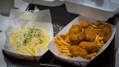 Garlic noodle, french fries and chicken nuggets (kuntheaprum) Tags: louisianaseafood louiloui seafoodrestaurant lobster clam garlicnoodle shrimp nikon d5300 sigma sigmaart 50mm f14