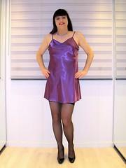 Legs and stockings (Paula Satijn) Tags: sexy hot girl gurl tgirl purple satin silk silky shiny nightie chemise nightdress dress smile happy joy fun legs stockings sweet cute pumps heels