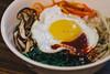 bibimbap (samanthahestad) Tags: bibimbap korean food rice bowl egg shiitake mushroom spinach sesame carrots bean sprouts gochujang