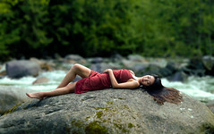(Wendy Lu.) Tags: wendylu canon5d lynn canyon north vancouver nature creeks lying sitting rocks surroundedbywater beautiful asian girl long hair smiling ethereal fantasy dreamy red dress forest hidden throughherlens