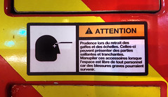 Fire Truck Warning (Coastal Elite) Tags: stick figures peril pompiers firefighters fire truck firetruck camion incendie warning avertissement danger risk hazard montreal français pictogram pictograms pictogramme pictogrammes montréal french sign attention manipuler manupiler injury blessure injuries hurt pain sharp object face forehead eye eyes échelles ladders ladder engine
