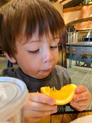 Eating an Orange (earthdog) Tags: 2018 needstags needstitle disneyland anaheim california scooter food eating orange meal face googlepixel pixel androidapp moblog cameraphone
