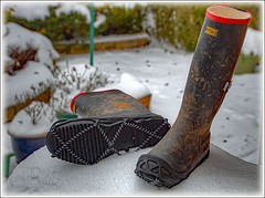 This week I 'ave mostly been . . . (bob the bolder) Tags: wellington boots wellies yaktrax snow