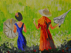 Kim's Umbrella Girls (BKHagar *Kim*) Tags: bkhagar art artwork artday kim painting girls umbrella umbrellas field acrylic internationalwomensday