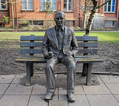 Alan Turing memorial - Manchester (phil_king) Tags: statue memorial alan turing sackville gardens manchester england uk park scientist mathematician enigma code codebreaker