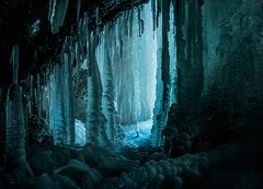 Blue ice cave exploration. (happy.culteur) Tags: ice blue cave nature winter olympusomdem10mark2 zuikodigital landscape lake jura wild light natgeo water travel waterfall exploration photomontage girl trekking france laracroft tombraider ngc