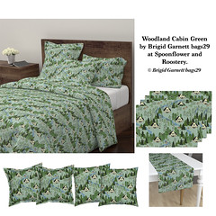 Woodland Cabin Green (brigidgarnettbags29) Tags: cabin cottage woods woodland forest animals deer flowers green brigidgarnettbags29 baby quiltfabric beaverisland michigan evergreentrees pinetrees firtrees mint sage