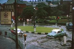 Rawtenstall,  Lancashire -  1964 (Lawrence Peregrine-Trousers) Tags: rossendale lancashire flood flooding cars motors 1960s motoring vauhhall velox cresta wyvern hillman super minx