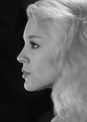 Mariah Cumming's Profile (melmark44) Tags: profile portrait bw blackandwhite strobist offcameraflash mariah model beauty workshop woman face crop rimlight setup modelshoot studio lighting modifiers beautydish stripbox grid girl blond mariahcummings