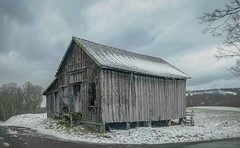 Greenbrier shed (Bob G. Bell) Tags: shed snow weather abandoned clouds greenbrier wv westvirginia road bobbell fujifilm xpro1