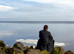 """Look! Spring is coming (PortSite) Tags: 2018 gerard gh krol nikon d810 natuurlijklicht naturallight lumièrenaturelle """"自然光"""" ijs ijselmeeer zitten nederland netherlands holland paysbas 荷兰 bajos нидерланды هولندا provincie noordholland afsluitdijk water landschap man mann 男人 homme hombre ijsschotsen ice floes rotsblokken outside"""