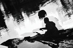 On The River (D. R. Hill Photography) Tags: blackandwhite monochrome doubleexposure river canal boat thailand asia southeastasia klong khlong water alms monk reflection nikon nikond750 d750 nikon80200f28 80200mm