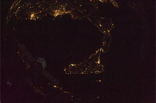 Calabria and Sicily at night