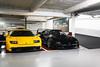 Lamborghini Diablo GT & Ferrari F40. (Nino - www.thelittlespotters.fr) Tags: lamborghini diablo gt yellow ferrari f40 black combo garage parking lamborghinidiablogt ferrarif40 lamborghinidiablo diablogt