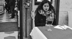 Table for one. (Baz 120) Tags: candid candidstreet candidportrait city candidface candidphotography contrast street streetphoto streetphotography streetcandid streetportrait sony a7 fullframe rome roma romepeople romestreets europe women monochrome mono monotone noiretblanc bw blackandwhite urban vintagelens vivitar28mmf2 life primelens portrait people italy italia girl grittystreetphotography faces decisivemoment strangers