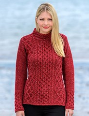Girl in aran honeycomb pattern sweater (Mytwist) Tags: womens wool cashmere aran mock turtleneck sweater sweatermarket hot blonde sexy outfit knit knitweat style fashion teen red love passion donegal irish fisherman retro casual chunky aranstyle knitted cabled design pullover knitting modern heavy pattern