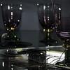 Light Reflections (kaprysnamorela) Tags: light reflections feather peacock magenta mirror composition darkkey glasses gold green glass bokeh nikond3300