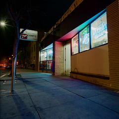 San Jose (bior) Tags: sanjose downtownsanjose longexposure night downtown hasselblad500cm distagon mediumformat 120 6x6cm liquorstore neon kodakportra portra 7up campus